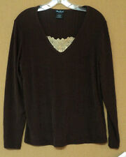 NEW petite large West End ribbed knit TOP brown lace trim PL NWT