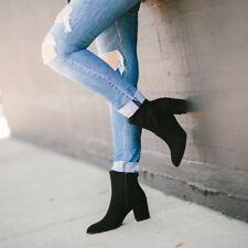 Stuart Weitzman NOTAZZIE Block Heel Black Suede Bootie Ankle Boot 9 US