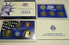 2002 Proof set Cn-Clad Kennedy Sacagawea dollar State quarters - (Ogp) 10 coins