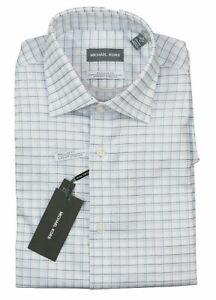 Michael Kors Mens Dress Shirt Classic Light Blue Size 17 1/2 Plaid $85 #275
