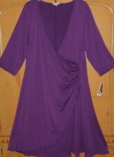 Kiyonna Purple Plum Faux Wrap Plus Size 3/4 Sleeve Lane Bryant Dress-Sz 5 5X-NWT