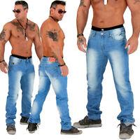 NUOVO JEANS PANTALONI UOMO DESTROYED Slavato Slim Fit BLUE BLU AZZURRO 812