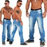 NUEVO Pantalones Vaqueros De Hombre Destroyed stonewashed Slim Fit Azul celeste