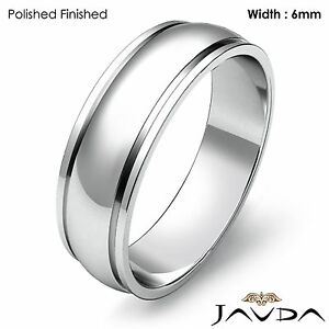 6mm Men Wedding Solid Band Dome Step Plain Ring 14k White Gold 5.2gm Size 8-8.75