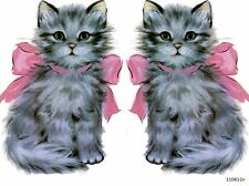 VinTaGe IMaGe XL KiTTeN CaT PinK BoW SHaBbY WaTerSLiDe DeCALs FurNiTuRe SiZe
