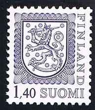 FINLANDIA SUOMI 1 FRANCOBOLLO LEONE RAMPANTE GRIGIO AZZURRO 1984 nuovo**