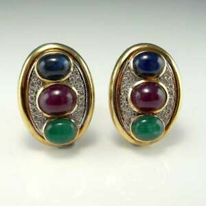 Vintage Ruby Sapphire Emerald & Diamond 14K Yellow Gold Over Men's Cuff Links