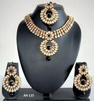 Indian Bollywood Wedding Pearl CZ Kundan Fashion Jewelry Necklace Earrings Sets