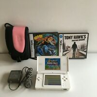 Nintendo DS Lite White Console with Charger Mario Bros Tony Hawk Crash of Titan
