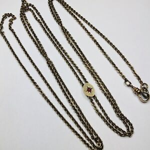 Victorian Pocket Watch Slider Ruby Long Guard Chain Necklace