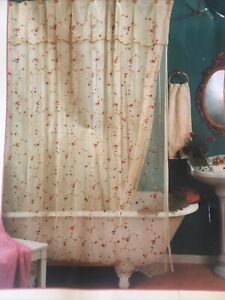 Embroidered lace shower curtain With liner 72×72 antique flowers  Unused