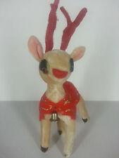 Vintage Whimsical Deer Christmas Reindeer Doll Decoration Japan Bell Glitter
