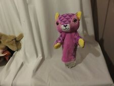 "10"" cute soft the puppet company pink checker cat plush hand puppet"