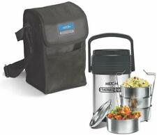 Milton Thermosteel Hot Office Lunch Box 4 Steel Containers With Black Carry Bag