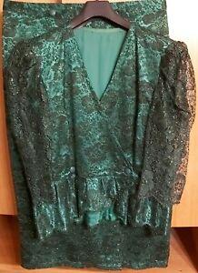 Abendkleid Zweiteilig Quasi Moda Grüne Lurexspitze Bogenkante