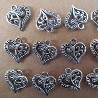 PJ29 20pc Hollow out Tibetan Silver Heart-shaped Dangle Charm Beads 14*15mm