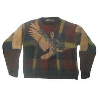 Vintage 80s 90s Mens Street Scenes Sweater Cosby Oversized Eagle Animal L Large