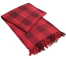 Large 100 Cotton Woven Check 2 Tone Sofa / Bed Throws Red Burgundy