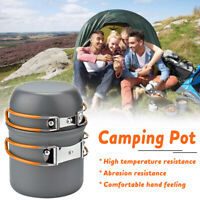 3Pcs Portable Outdoor Camping Hiking Picnic Non-stick Bowl Pot Pan Cookware