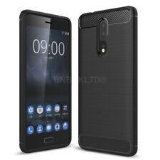 For Nokia 8 Carbon Fibre Gel Case Cover Brushed Shockproof Hybrid