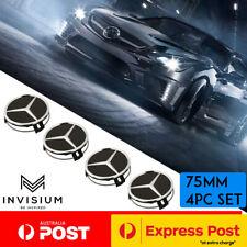 4x Mercedes Benz BLACK 75mm Wheel Centre HUB CAPS Badge Emblem AMG C E S C63 E63