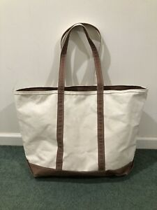Vintage LL BEAN Boat And Tote Canvas Tote Bag Size XL Made in USA Brown Handles