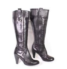 27S Paola Ferri Damen Stiefel Gr. 36 Leder schwarz Schaftstiefel hoher Absatz