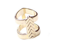 This way to my heart' Gold tone arrow shaped ladies fashion double ring (NS7)
