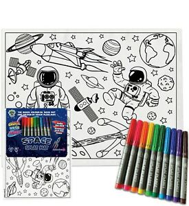 Splat Planet Magic Colouring Placemat With 10 Magic Pens-Colour-in and Wash Out