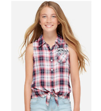 JUSTICE GIRLS PLAID CRITTER POCKET SHIRT SIZE 18 PLUS NEW WITH TAGS IN BAG