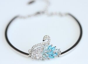 Swarovski Marquise Crystal (Blue) Swan Design 14K White Gold Filled Bracelet