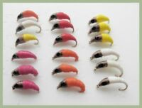 Maggot Fishing Flies, 18 Pack Mixed Colours, Size 10  Freshwater Fly Fishing
