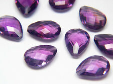 Large Amethyst Calibrated Faceted Half Drilled Gemstone Pear Briolette 12 x 16mm