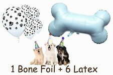 Dog Bone Foil Helium Quality + 6 Latex Balloons Puppy Birthday Party Paw Patrol