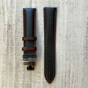 For 20mm Omega Rolex Tissot Genuine Leather Watch Strap Band + Deployment Buckle