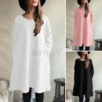 ZANZEA Womens Long Sleeve Cotton Casual Loose Side Pockets Pullover Shift Dress