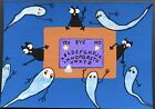 aceo original painting art Cats Halloween Ouija Board Ghosts