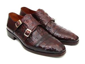 Paul Parkman Men's Double Monkstraps Brown & Bordeaux Crocodile Embossed Calfski