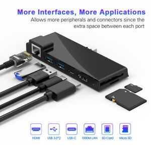 For Surface Pro 7 Docking Station USB C Hub to USB 3.0 60W HDMI Digital Adapter