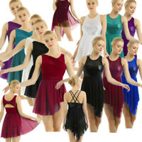 Women's Sleeveless Asymmetric Contemporary Lyrical Dance Dress Ballet Leotard