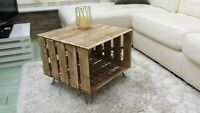 apple crate-table rustic with solid wood metal hairpin legs