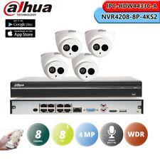 Dahua 8CH NVR 4MP Bulitin MIC IPC-HDW4433C-A POE CCTV Security Camera Kit