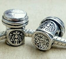 2PC LOT Starbucks Take Out Coffee Cup To Go Beads fit European Charms Bracelets