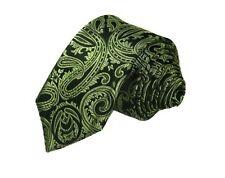 NEU Herren Luxus Krawatte Binder Schlips Seide 150 cm schwarz grün Paisley OVP