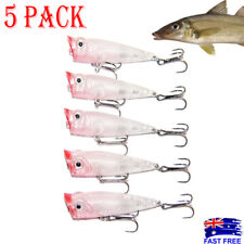 5X 50mm Popper Poppers Topwater Fishing Lures Surface Whiting Bream Bass Pencil