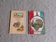 POSTCARDS Vintage 1900s THANKSGIVING Turkey Wishbone Axeman Harvest Posted Print