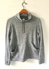 Women's High Neck GO DRY Gray Marled Fitness Knit Top M Thumb Holes NWOT