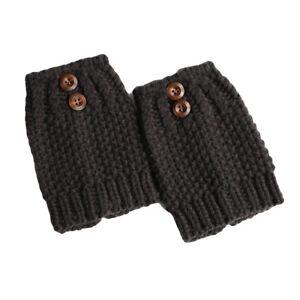 Women Winter Warm Leg Warmer Crochet Button Socks Knitted Boot Cuffs Short Socks