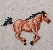Iron On Embroidered Applique Patch Brown Horse Running Facing Right