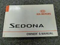 2002 Kia Sedona Minivan Owner Owner's Manual User Guide LX EX 3.5L V6
